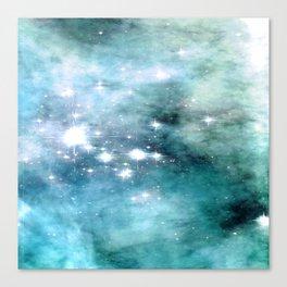 nEbulA Aqua Teal Sparkle Canvas Print