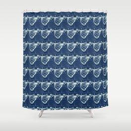 Indigo Blue Wave Pattern Japanese Style Stylized Water Wavy Shower Curtain