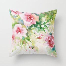 Cascading Flowers -Landscape- Watercolors Throw Pillow