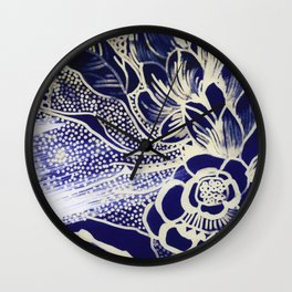 Indigo Flower Wall Clock
