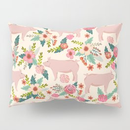 Pig florals farm homesteader pigs cute farms animals floral gifts Pillow Sham