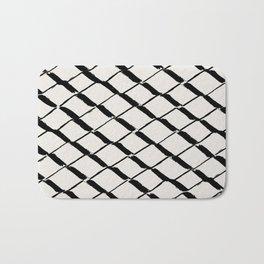 Modern Diamond Lattice Black on Light Gray Bath Mat