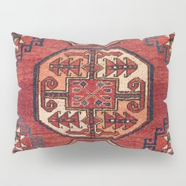 Orange Red Turkestan Medallions II 19th Century Authentic Colorful Geometric Vintage Patterns Pillow Sham