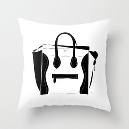 Black and White Luggage Handbag Tote Pattern Throw Pillow