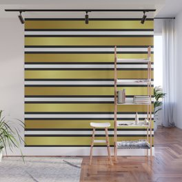 Luxe Gold Metallic and Black Stripes Pattern Wall Mural
