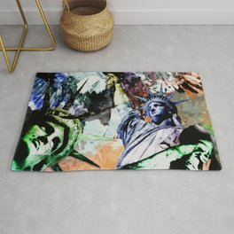 Statue of Liberty Abstract Art Collage Rug