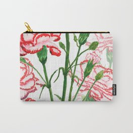 pink and red carnation watercolor painting Carry-All Pouch