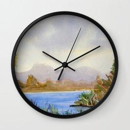 Original Watercolor Landscape Mountain Lake Wall Clock