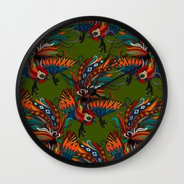 rooster ink green Wall Clock