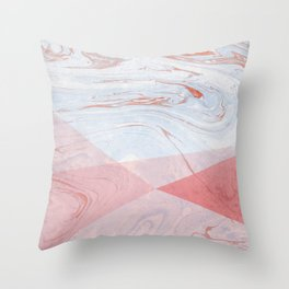 Strawberry and Cream Marble Throw Pillow