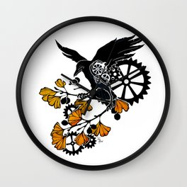 Raven and Ginkgo - Autumn Cycle Wall Clock
