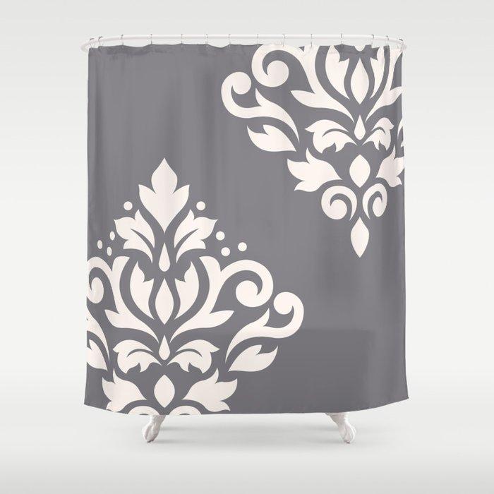 Scroll Damask Art I Cream on Grey Shower Curtain