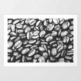 roasted coffee beans texture acrbw Art Print