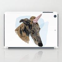 greyhound iPad Cases featuring greyhound unicorn by Ingrid Winkler