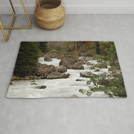 Mountain River Alpine Alps Mountains landscape Rug