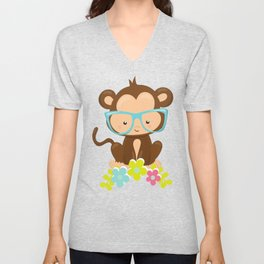 Cute Monkey With Eyeglasses, Colorful Flowers Unisex V-Neck