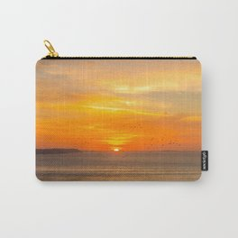 Sunset Coast with Orange Sun and Birds Carry-All Pouch