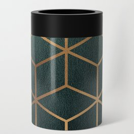 Dark Teal and Gold - Geometric Textured Gradient Cube Design Can Cooler