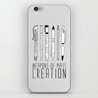 pen iPhone & iPod Skins featuring weapons of mass creation by Bianca Green