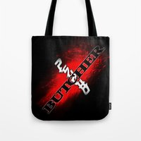 butcher billy Tote Bags featuring Psycho Butcher by SPW Tees