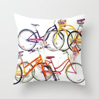 bikes Throw Pillows featuring bikes by takmaj