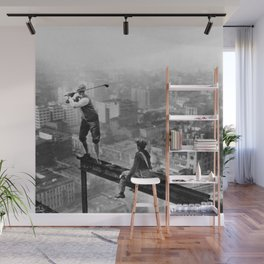 Tough Par Four - Golf Game at 1000 feet black and white photograph Wall Mural