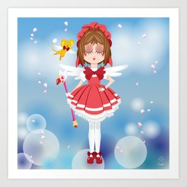 Mini Me Stars: Red Sakura Art Print