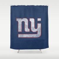 new jersey Shower Curtains featuring New Jersey Football Giants by CS_Kennedy