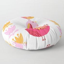 Happy Pink And Orange Birds And Blooms Floor Pillow