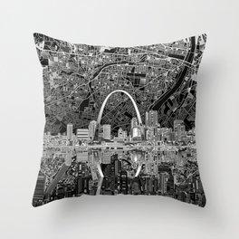 st louis city skyline map Throw Pillow
