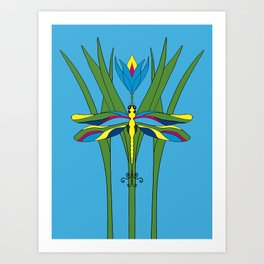 Turquoise Dragonfly Tulip Art Print