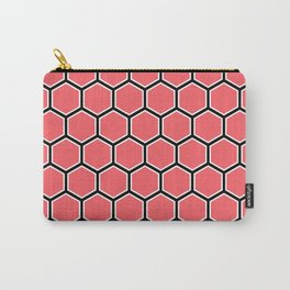 Bright coral, white and black hexagonal pattern Carry-All Pouch