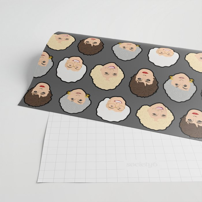 Golden Girls Grey Pop Art Wrapping Paper