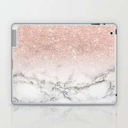 Modern faux rose gold pink glitter ombre white marble Laptop & iPad Skin