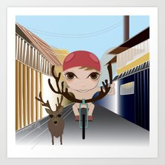 Deery Fairy Riding a Bike Art Print