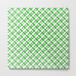 Green and White Irish Clover Check Pattern Metal Print