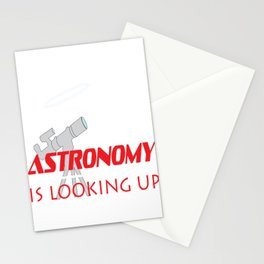 """Fall in love with Space again through this simple design with text """"Astronomy is Looking Up! Stationery Cards"""