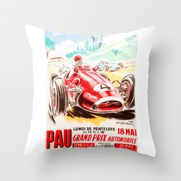 Grand Prix Pau, vintage poster, race poster Throw Pillow