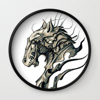 horse Wall Clocks featuring Horse by Nuam