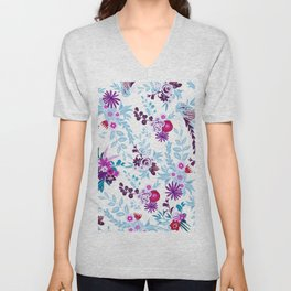 Abstract pastel blue pink country flowers pattern Unisex V-Neck