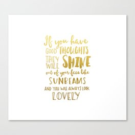 Good thoughts - gold lettering Canvas Print