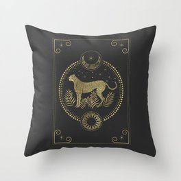 Wild Cheetah and the Moon Throw Pillow