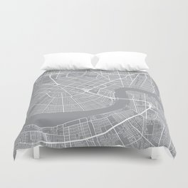 New Orleans Map, Louisiana USA - Pewter Duvet Cover