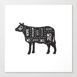 vegetarian vegan cow no meat cut chart diagram Canvas Print