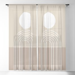 Geometric Lines in Beige and Brown (Sun and Rainbow abstraction) Sheer Curtain
