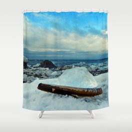 Spring Comes to the Beach in Ice that glows Blue Shower Curtain