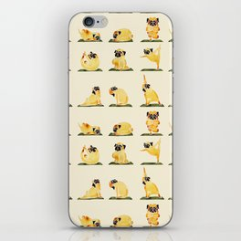 Pug Yoga Watercolor iPhone Skin