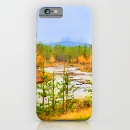 Finland landscape watercolor painting iPhone Case