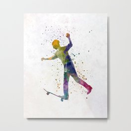 Man skateboard 06 in watercolor Metal Print