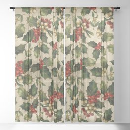 Gold and Red Holly Berrys Sheer Curtain